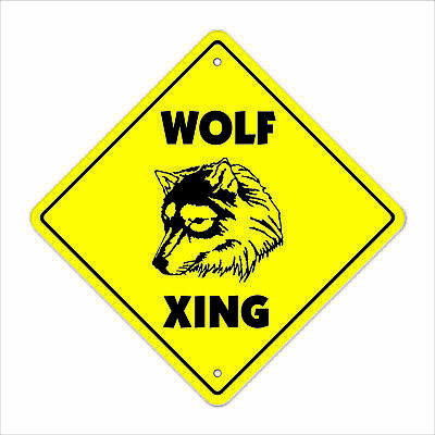 "Wolf Crossing Sign Zone Xing 14"" new road wolves grey red hunters ranch wild"