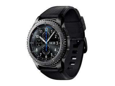 Samsung Galaxy Gear S3 frontier 46mm Stainless Steel Case Black Sport Band.