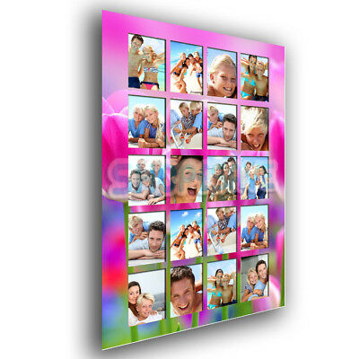 Personalised 20 Photos Wall Art Collage Pink Tulips Effect A4 / A3 Satin Poster