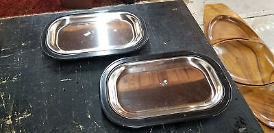 """2 Service 12"""" Thermo-Plates Rectangular Keeps Food Hot"""