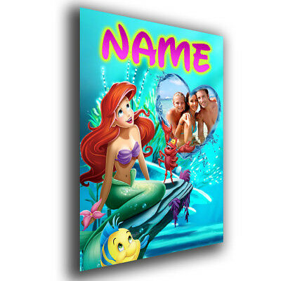 Personalised Disney Princess Ariel, Little Mermaid, Photo and Name Added Poster