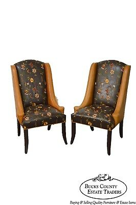 Design Master Custom Tooled Crewel Work Leather Pair of Hostess Wing Back Chairs