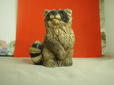 Vintage Stone Critters Raccoon baby SCB-035 figurine made in USA, mint