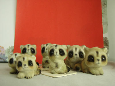 VTG George-Good Corporation, Japan, Group of Raccoon figurines, some on cards