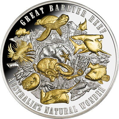 Niue 2018 Great Barrier Reef Gilded $10 5 Oz Pure Silver HR Proof - MINTAGE 500