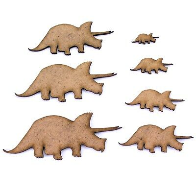 Triceratops Dinosaur Craft Shape, Various Sizes, 2mm MDF Wood. Prehistoric