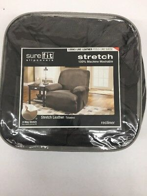 Sure Fit Stretch Leather 1 Piece Recliner Slipcover Brown Sf37162