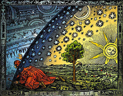 "Flat Earth ""Flammarion-Woodcut-1888"" A3 ON SPECIAL CANVAS  *Free Next Day ✅"