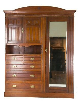 Antique Armoire, Victorian Armoire, Carved Walnut Wardrobe, Scotland 1880, B538