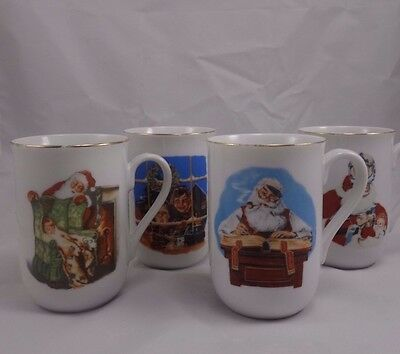 Set 4 Norman Rockwell Museum Christmas Coffee Cups Mugs