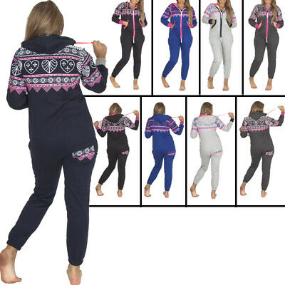 Unisex Womens Mens Heart Aztec Print Fleece Nightwear Ladies Jumpsuit Pyjama M L
