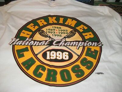 HERKIMER GENERALS LACROSSE; National CHAMPS T SHIRT;1988/89/92/1993/94/95&96;NEW