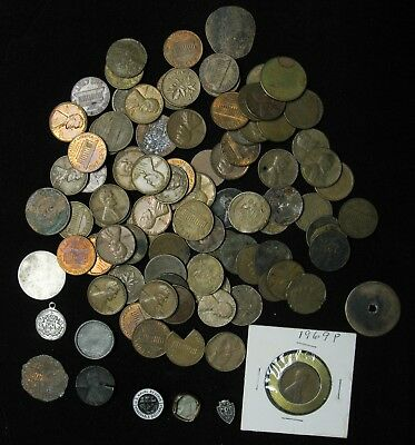 Junk Drawer 10 ounces of USA and Canada Penny One Cent Wheatie Indian Head 2 Cen