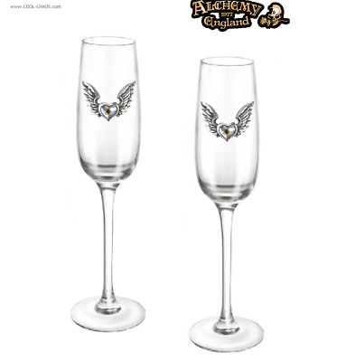 Pewter Crystal Heart Champagne Glasses - Wedding,Anniversary,Birthday,Engagement