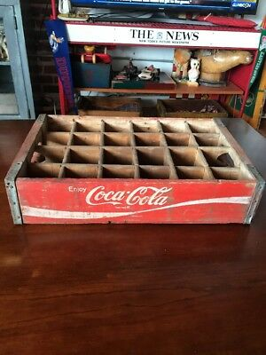 Vintage Wooden Coca Cola Crate Coke Box 24 Dividers Nice Red