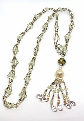 VTG Estate Beaded Lariat Flapper Crystal Art Glass Long Necklace Art Deco
