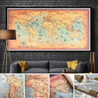 NEW BIG Ocean World Map Antique Vintage Poster Wall Home Decor 100 x 50 CM