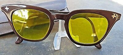 vintage B & L BAUSCH & LOMB SAFETY GLASSES YELLOW AMBER LENSES FREE SHIPPING USA