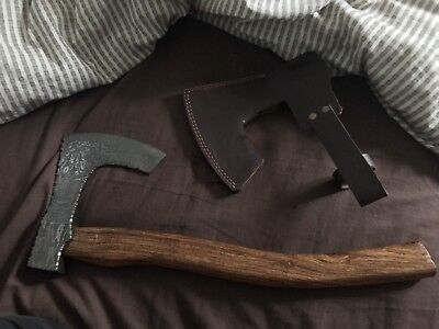 Custom made Damascus Steel Viking Axe Wooden Handle Lacquered Ax Hunting