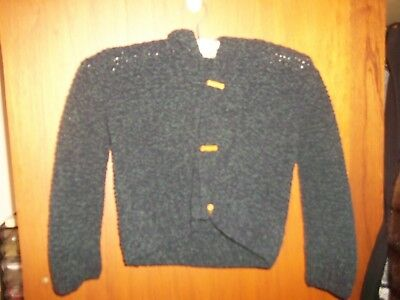 MINT Boys Girls NAVY Vintage hand knit hooded Jumper Cardigan UNISEX SZ 4 5 6