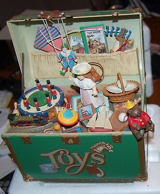 """Enesco Treasure Chest of Toys 1986 Wind-Up Music Box plays """"Toy Symphony"""""""