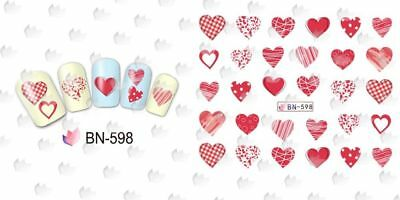 Nail Art Water Decals Stickers Transfers VALENTINES Day Love Hearts BN598 1pc