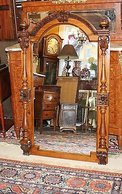 Large French Antique Tall Oak Wooden Frame Decorative Wall Mirror Furniture