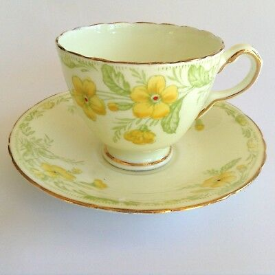 1930s DELPHINE Vintage English Bone China Hand Painted PRIMROSE Cup & Saucer Duo