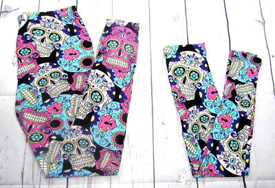 Mommy & Me Sugar Skull Leggings Pink Plus Size Tc One Size Girl Woman Nwt New