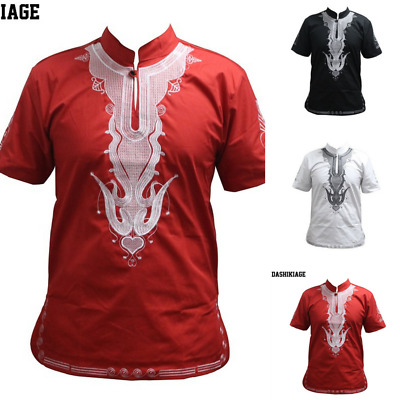 Red Black White Embroidery Short Sleeve Traditional Mali African Vintage T-shirt