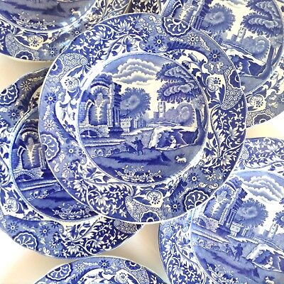 Set of 6 Vintage Italian COPELAND SPODE Blue White 16cm Scalloped Side Plates