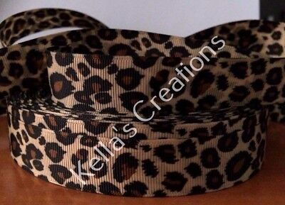 """Leopard print Double Sided Grosgrain Ribbon 7/8"""" Sold by 2M- Craft - Hair Bows"""