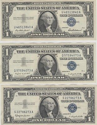 1957 , 1957A ,1957B  $1 One Dollar Us Silver Certificate Note X3  Circulated