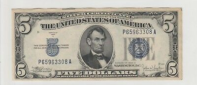 1934 C $5 Five Dollars Us Silver Certificate Blue Seal Note Circulated 308A