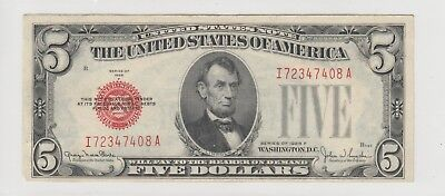 1928 F $5 Five Dollars Us Red Seal Note Circulated 408A