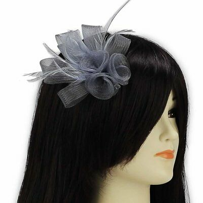 Silver Grey Fascinator Clip Hair Feather Flower Wedding Ladies Day Races New
