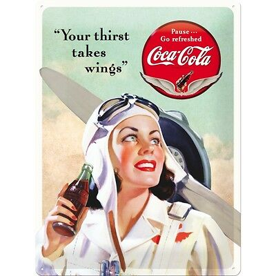 Targa in Latta Coca-Cola - Takes Wings Lady 30 x 40 in metallo stampato