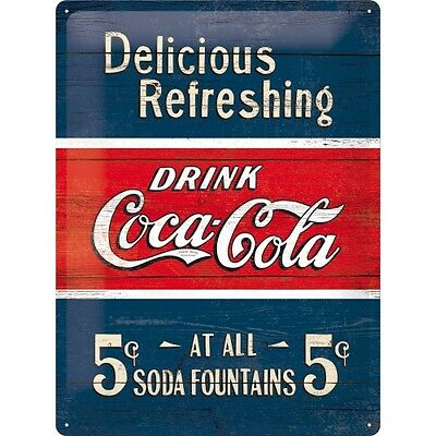 Targa in Latta  Coca-Cola -Delicious Refreshing Blue 30 x 40 in metallo stampato