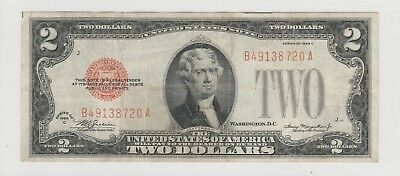 1928 C $2 Two Dollars Us Red Seal Note Circulated 720A
