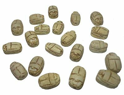 12 Scarabs beetle handmade  XXS 0.6 Pendants bead Egyptian Ceramic carved (205)