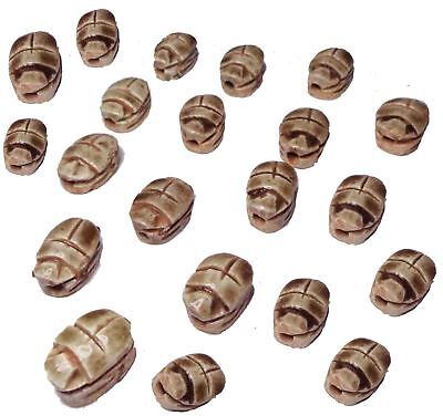 "12 Scarabs beetle handmade XXS 0.6"" Pendants bead Egyptian Ceramic carved (205)"