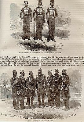 Historic Antique Engraving 157 Yrs Old Bengal Native Infantry & Bombay Army 1818