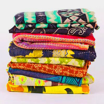 Wholesale Lot of 10 Pcs Reversible Handmade Indian Vintage Kantha Quilt Throw