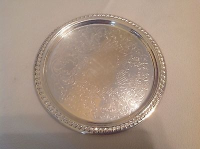 Vintage Silver Plate Smaller Size Tray Elegant Scroll Work Heavy And Sturdy