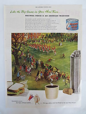 Vintage print advertising original 1950s ad MAXWELL HOUSE COFFEE gridiron