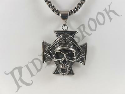 Stainless Steel Iron cross dead officer pendant and necklace 60cm chain nazi