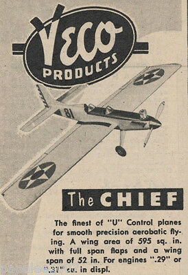 """Model Airplane Plans (UC): Vintage 1951 Veco Chief 52"""" Stunter for .29-35 Engine"""