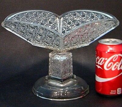 ANTiQUE EAPG CLEAR DAiSY & BUTTON SQUARE PANELED GLASS BOWL FOOTED COMPOTE