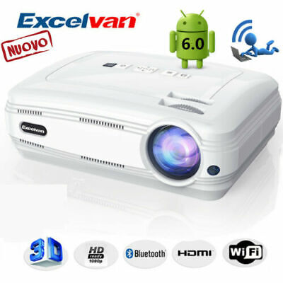 NUOVO 6000Lumen Video Proiettore Android6 3D WiFi BT AV, VGA, USB, HDMI, Y.Pb.Pr