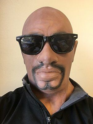 Realistic Black Man Latex Rubber Mask, Full Head Dude, Rapper, Bouncer, Soldier